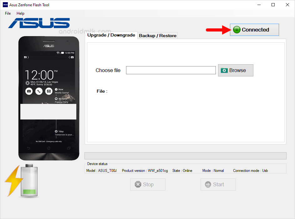 asus zenphone flash tool connected