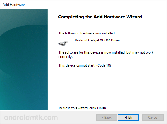 device manager cdc vcom complete