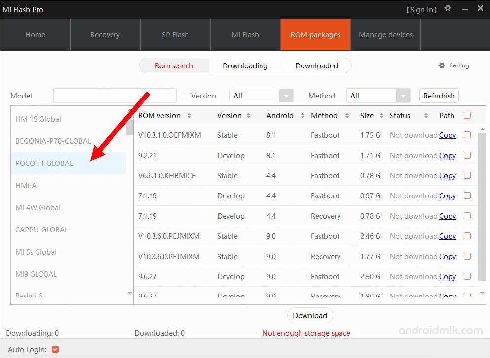 MiFlash Pro Model Select