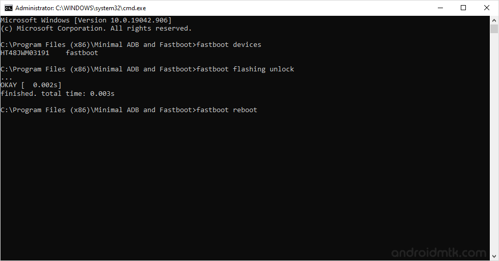 minimal command fastboot reboot