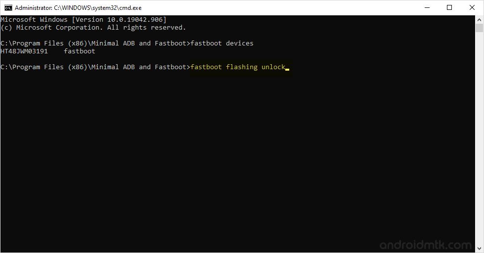 minimal command fastboot oem unlock