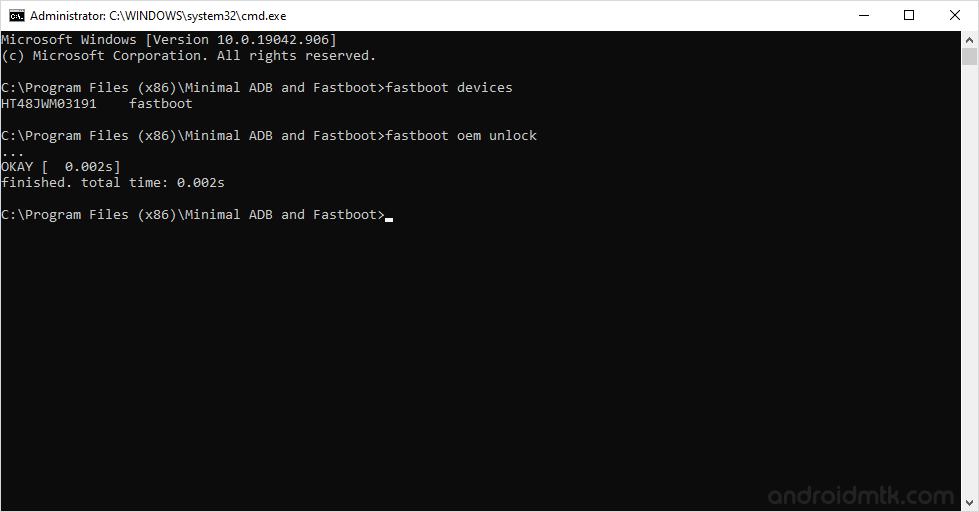 minimal adb command oem unlock