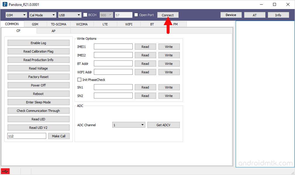 pandora tool connect