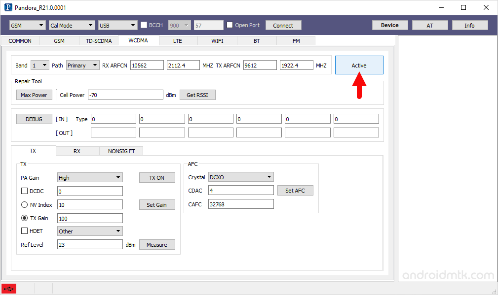 pandora tool wcdma activate