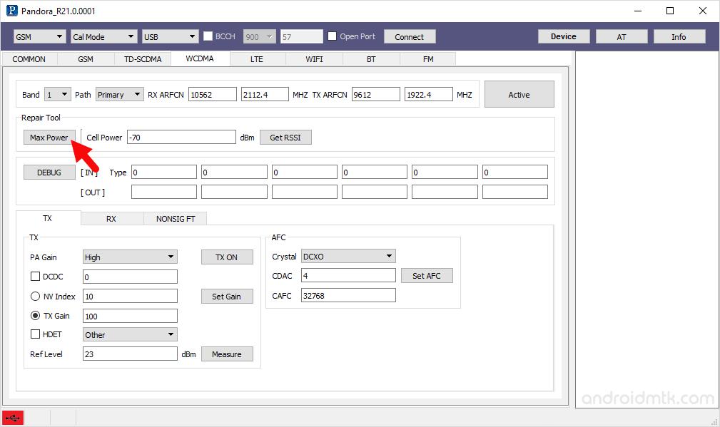 pandora tool wcdma max power