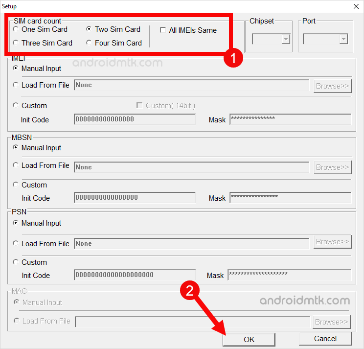 RDA IMEI Tool Setup SIM Count