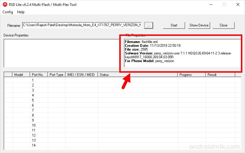rsd lite tool file info