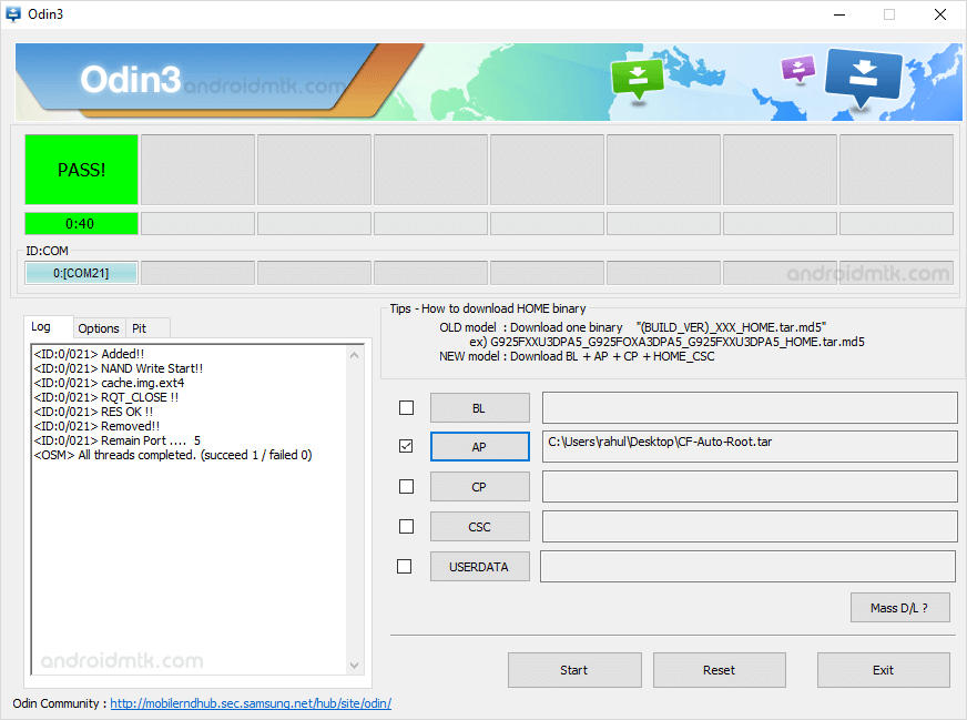 Odin3.07 Flash Completed for Samsung Galaxy S4 Mini GT-I9195